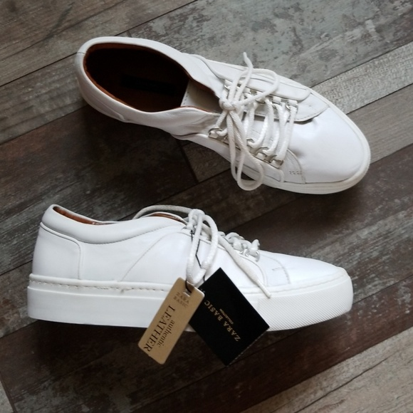 Zara white leather platform tennis shoes size 8. M 5b563e55534ef9737455eb0e d7078e842e3